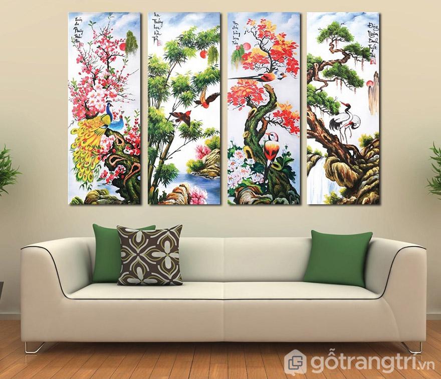 Tranh phong thủy, tranh tứ quý giúp không gian phòng khách đẹp đậm chất riêng đồng thời giúp gia chủ giữ vượng khí.