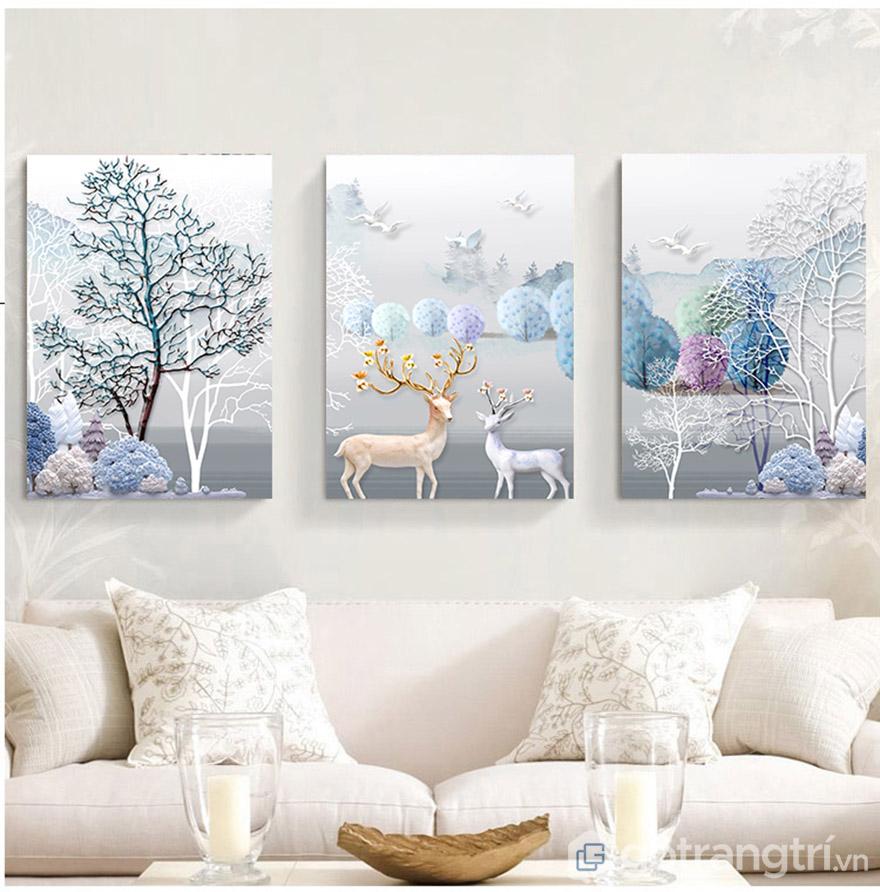 Màu xanh nhẹ nhàng của tranh treo tường 3D tạo nên không gian đẹp ấn tượng