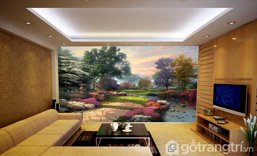 Cách để tạo điểm nhấn và giúp không gian phòng khách rộng hơn chính là dùng tranh dán tường 3D