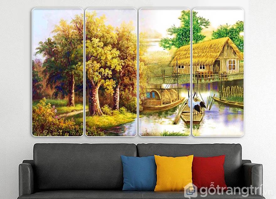 Một bức tranh treo tường 3D về phong cảnh làng quê có thể tạo được sự yên bình, thư thái cho không gian phòng khách
