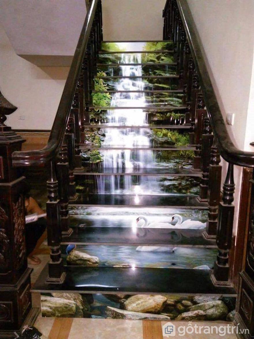 Bất ngờ với góc cầu thang không thể đẹp hơn với tranh 3D