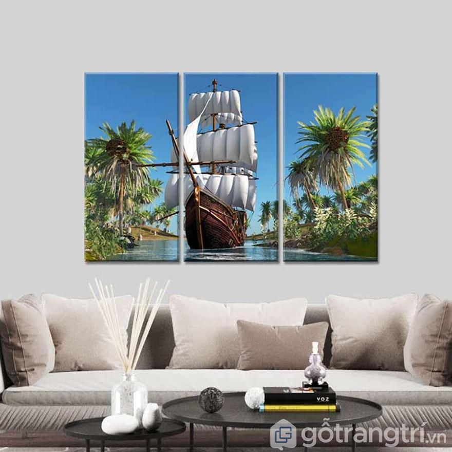 Tranh treo tường phong cảnh giúp tạo không gian phòng khách thoáng đãng và rộng hơn