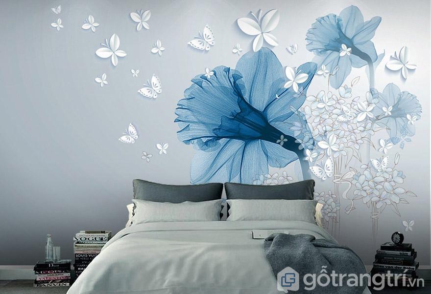 Bạn có thể chọn tranh dán tường với màu sắc nhẹ nhàng, lãng mạn.