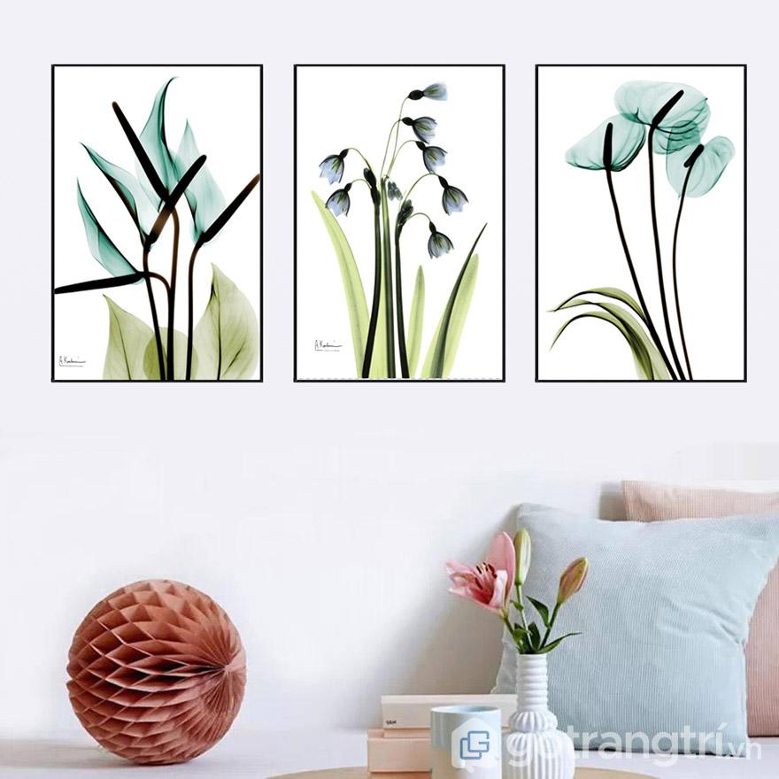 Tranh về cây cối sẽ giúp bạn tạo không gian xanh cho phòng khách.