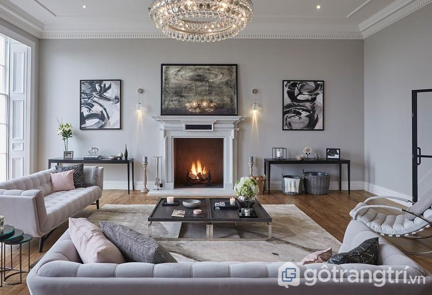 Không gian nội thất phòng khách với màu trắng chủ đạo - ảnh internet