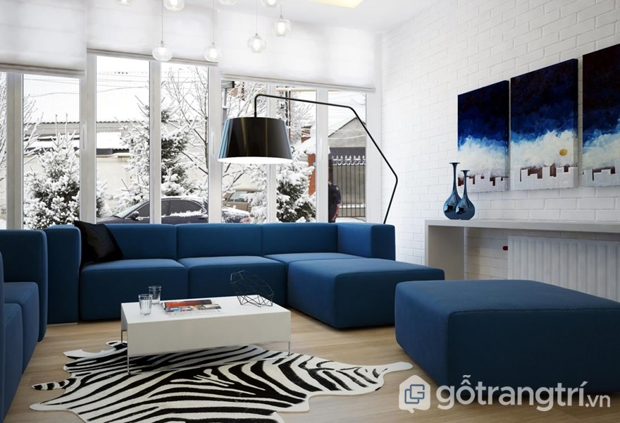Màu xanh dương trong phòng khách của người mệnh Thủy - ảnh internet