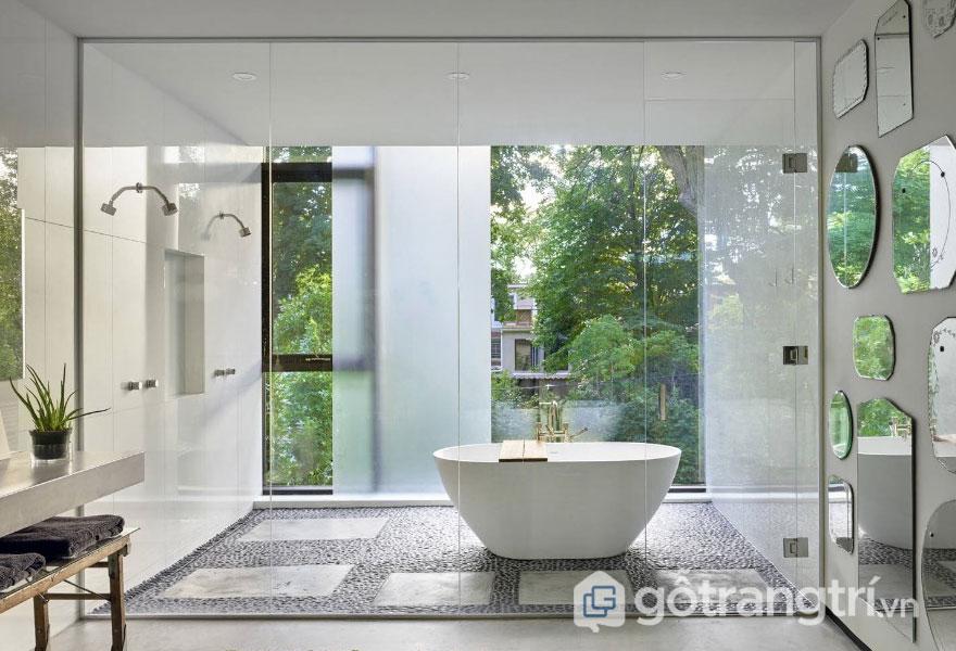 Phòng tắm này thiết kế khá trang nhã, trẻ trung (Ảnh: Internet)
