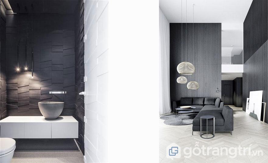 Xu hướng thiết kế nội thất đương đại cũng khá yêu thích tông màu tối (Ảnh: Internet)