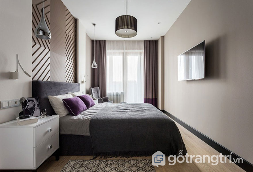 Đèn thả trần được bài trí rải rác trong căn phòng ngủ này (Ảnh: Internet)