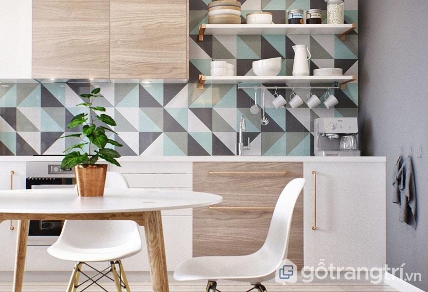 Không gian bếp tươi đẹp lát đá nhiều màu sắc - ảnh internet