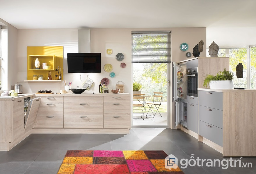 Tủ bếp gỗ hdf - ảnh internet