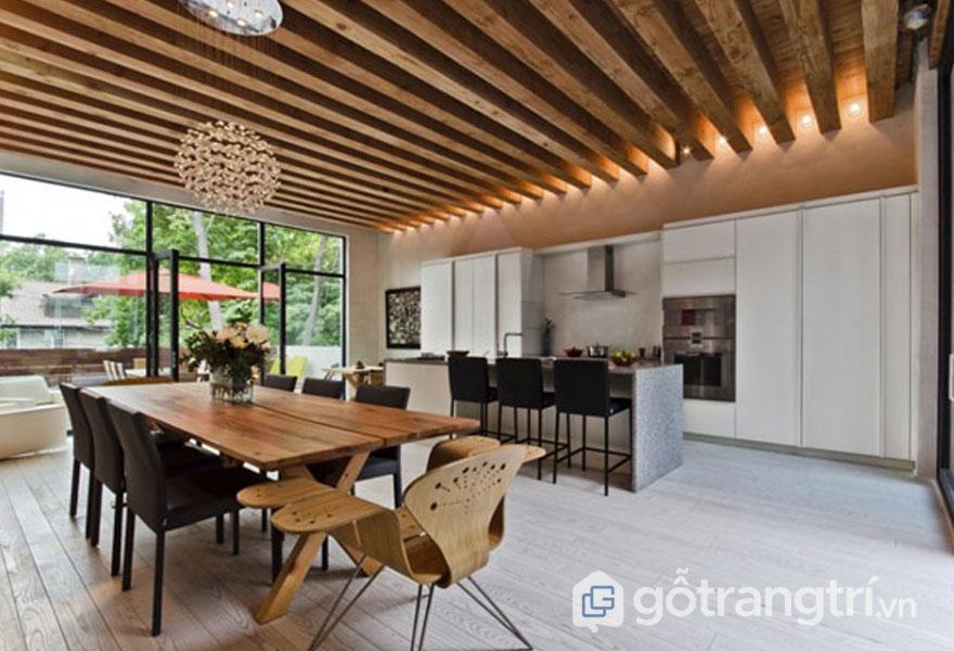 Một không gian sống đậm chất Eco với đồ nội thất được làm từ chất liệu gỗ chủ yếu (Ảnh: Internet)