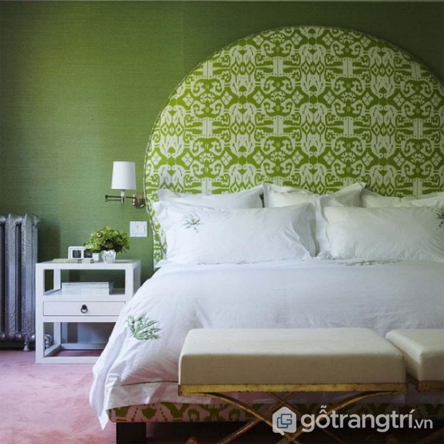 Phòng ngủ trang trí màu xanh cốm và tông màu trắng mang đến sự nhẹ nhàng cho căn phòng (Ảnh: Internet)