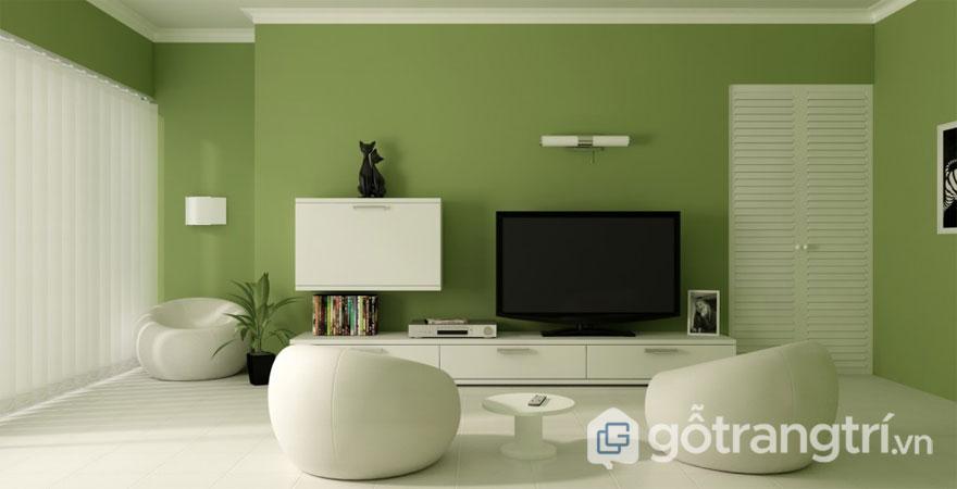 Phòng khách thiết kế đơn giản với hai tông màu trắng - xanh (Ảnh: Internet)