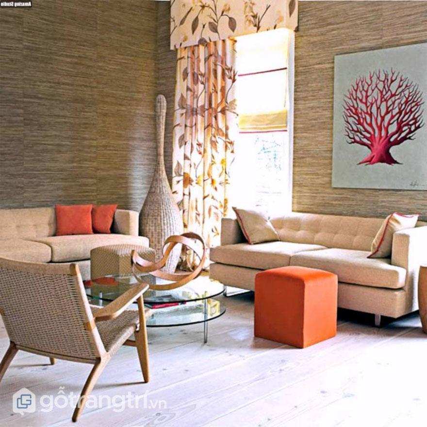 Gian phòng khách này không sử dụng quá nhiều sắc màu sặc sỡ (Ảnh: Internet)