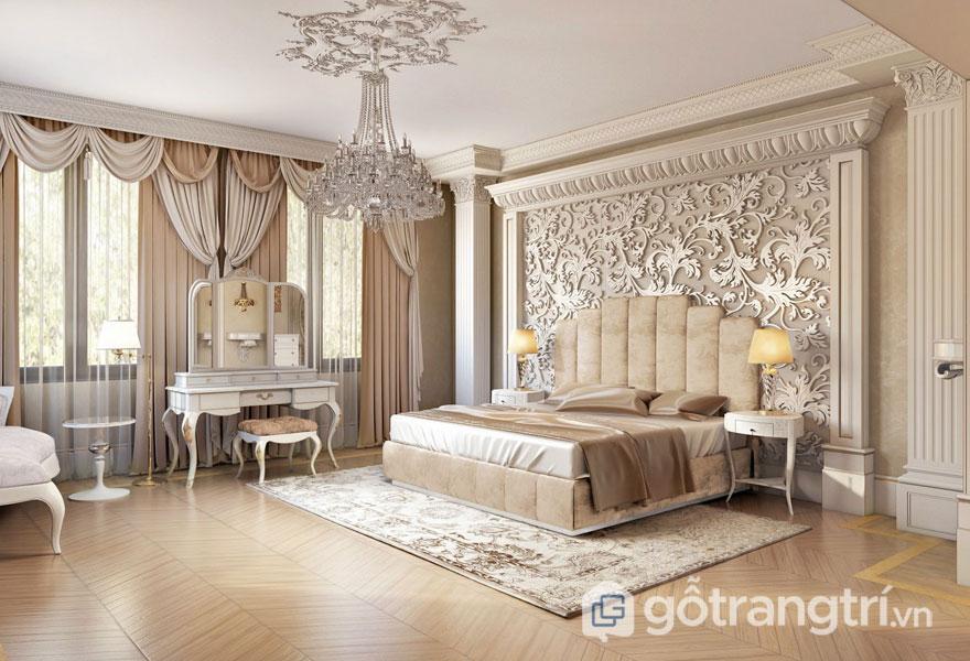 Phòng ngủ rộng lớn được bài trí bàn trang điểm (Ảnh: Internet)