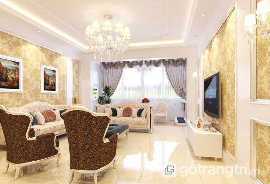 Phòng khách baroque được lát sàn đá tự nhiên đem đến vẻ đẹp thoáng đạt cho ngôi nhà (Ảnh: Internet)
