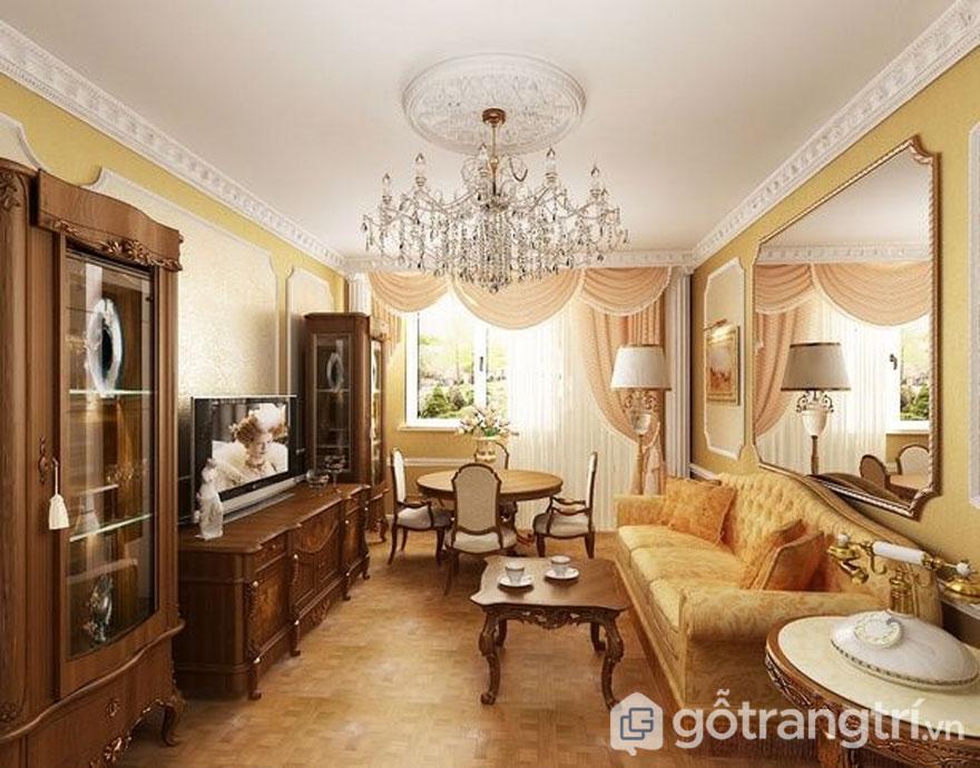 Dùng những tấm gương lớn sẽ giúp căn phòng rộng rãi hơn (Ảnh: Internet)