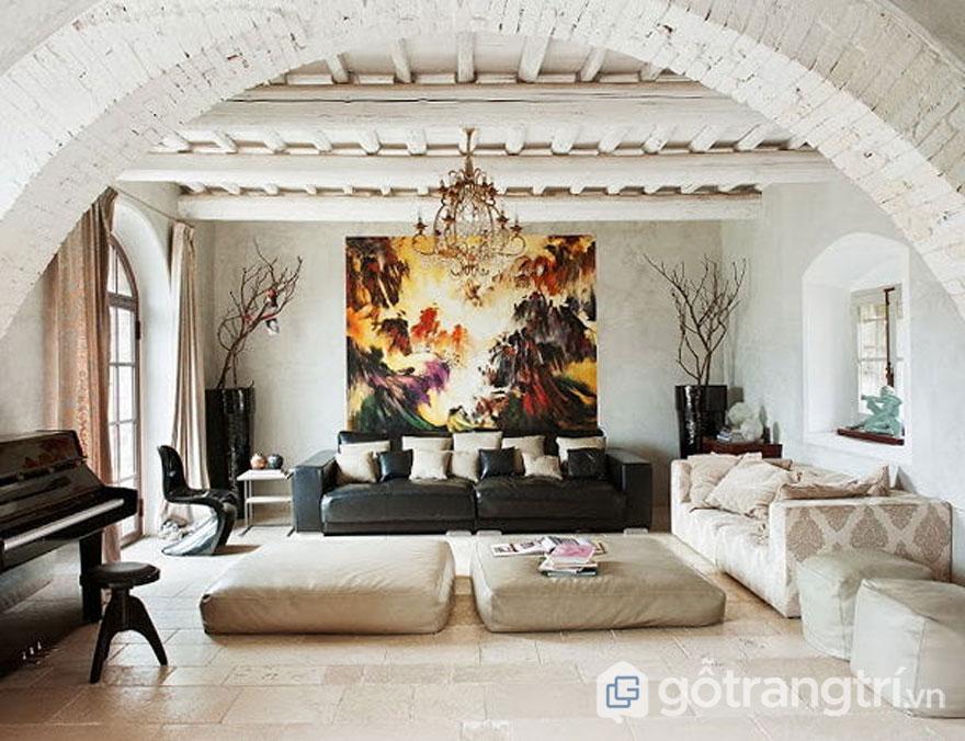 Trần nhàBaroque được sơn màu sắc trắng sẽ mang đến vẻ đẹp thanh lịch (Ảnh: Internet)