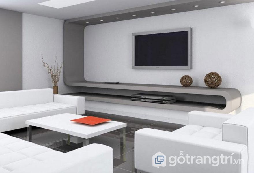 Căn phòng khách trắng muốt với tông trắng tinh khôi (Ảnh: Internet)