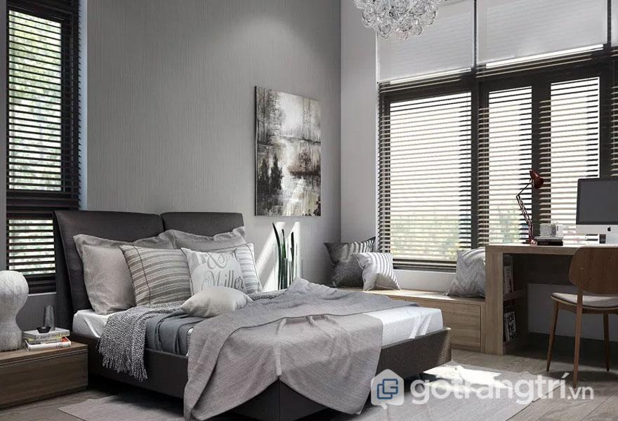 Phòng ngủ được bài trí với 2 gam màu nâu và gam màu xám đã tạo lên sự sang trọng và điềm tĩnh cho mọi không gian nghỉ ngơi, thư giãn (Ảnh: Internet)