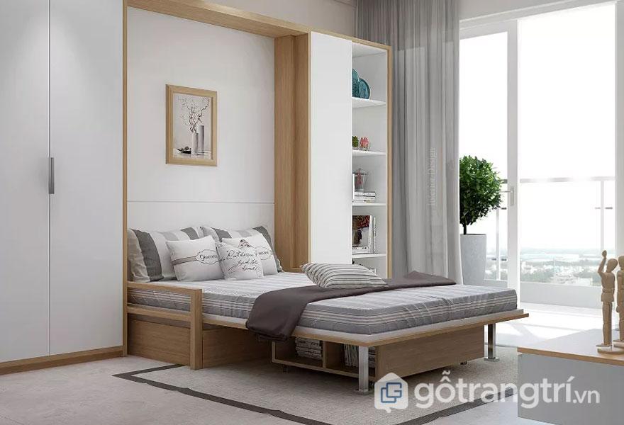Giường ngủ thông minh khi được thiết kế thêm kệ sách nằm ở dưới chân giường sẽ tạo sự gọn gàng và thuận tiện cho căn phòng (Ảnh: Internet)