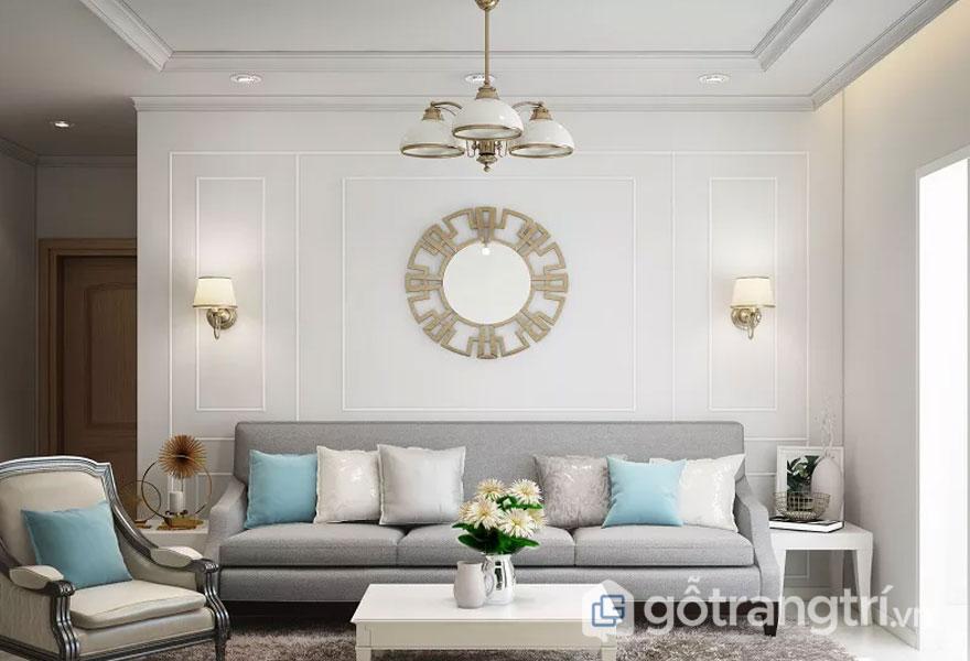 Phong cách hitech trong nội thất cho phòng khách luôn được trang trí khá là nổi bật và phóng khoáng với tông trắng làm nền xen lẫn điểm nhấn chính là những chiếc gối xanh được kê xen kẽ và rất lạ mắt (Ảnh: Internet)