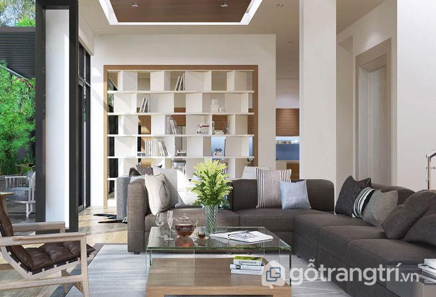 Phòng khách được thiết kế vô cùng rộng rãi và thoáng đáng khi điều tiết đầy đủ ánh sáng giúp không gian tiếp khách luôn được mở rộng tuyệt đối với thiên nhiên (Ảnh: Internet)
