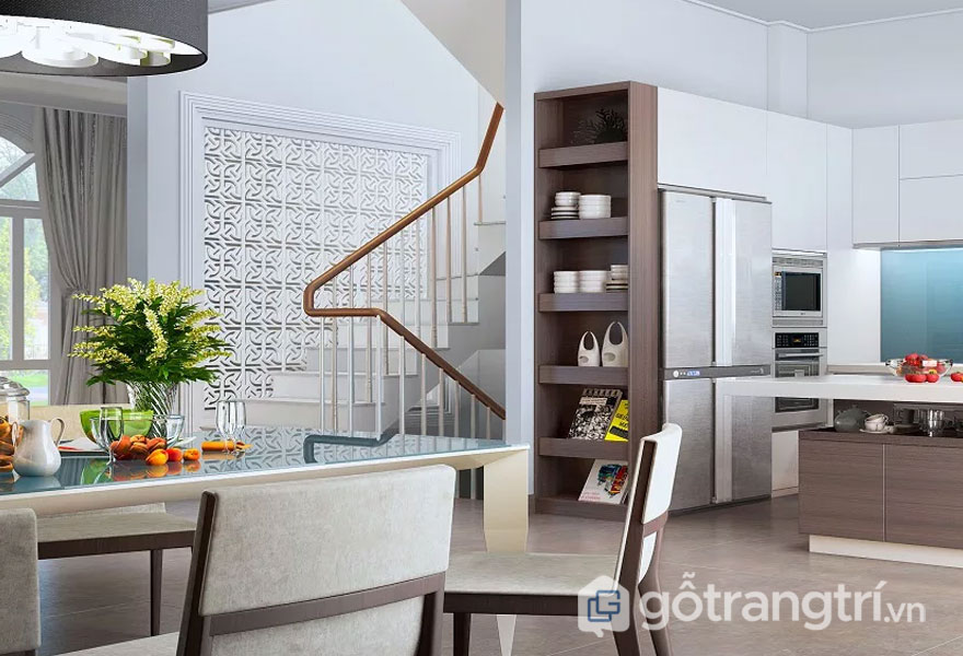 Phong cách hitech trong nội thất cho nhà bếp và phòng ăn được bài trí khá là gọn gàng, tinh tế tạo được cảm giác khá ngon miệng, thân thiện, kết nối những thành viên trong gia đình lại gần nhau hơn (Ảnh: Internet)