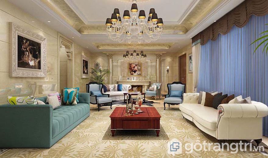 Phòng khách được trang trí theo phong cách Baroque trông khá là lộng lẫy, trang hoàng và rất nghệ thuật (Ảnh: Internet)
