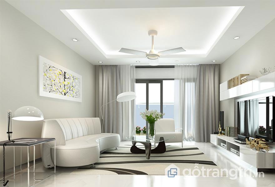 Phòng khách nổi bật với sắc trắng tinh khôi (Ảnh: Internet)