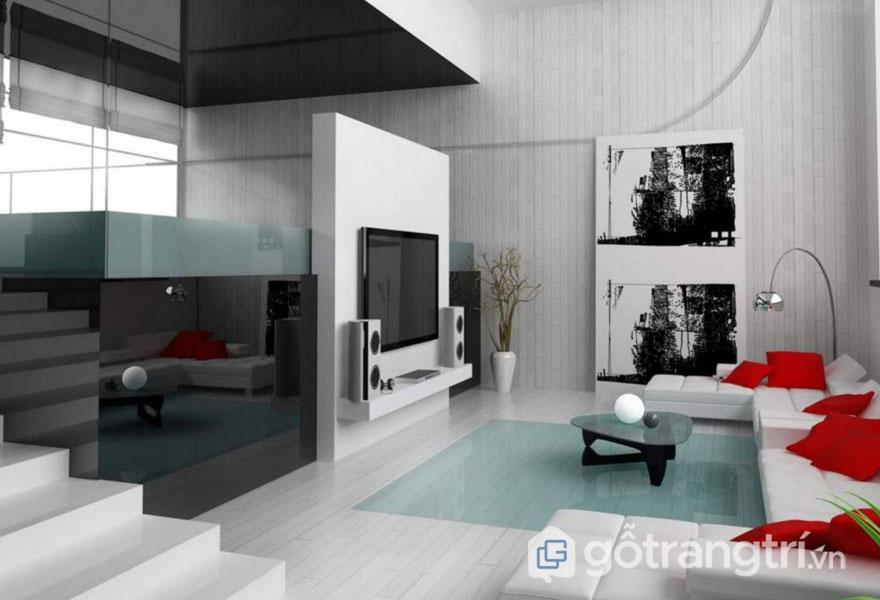 Phòng khách nổi bật với tông màu đỏ của gối ôm (Ảnh: Internet)