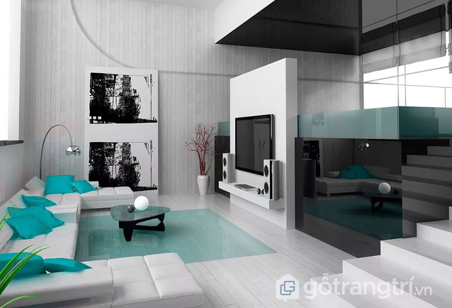 Phòng khách thiết kế tối giản (Ảnh: Internet)