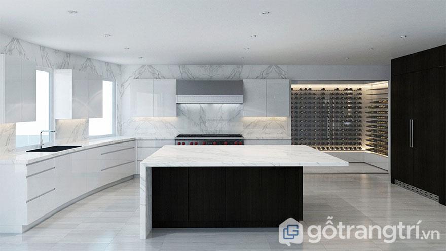 Phòng bếp Hitech nổi bật 2 tông màu trắng và đen (Ảnh: Internet)