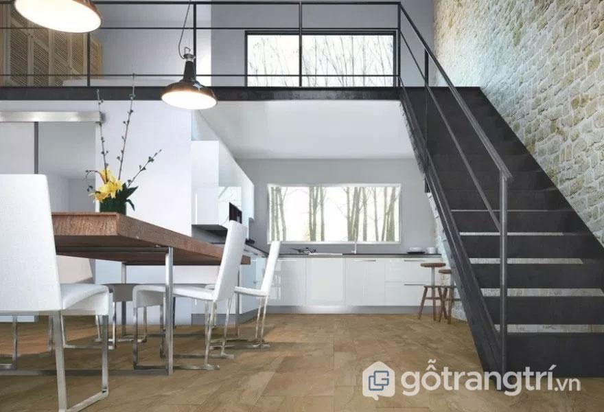 Phòng ăn được thiết kế khá đơn giản với màu trắng nền nã (Ảnh: Internet)