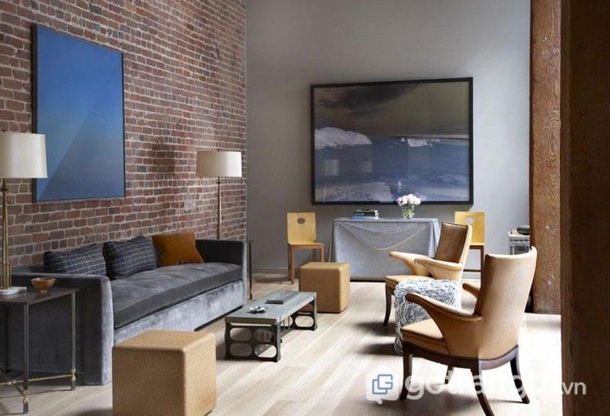 Giống như phong cách công nghiệp, nội thất loft cũng để thô trần bức tường gạch (Ảnh: Internet)