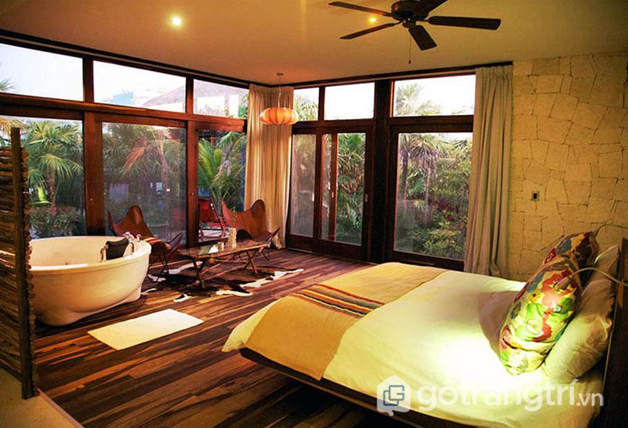 Phòng ngủ theo phong cách nội thất tropical (Ảnh: Internet)