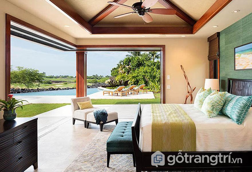 Phòng ngủ nhiệt đới kết nối không gian bên ngoài (Ảnh: Internet)