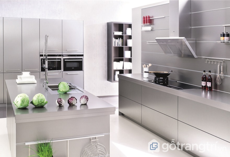 Ứng dụng thép không gỉ triệt để trong không gian bếp - ảnh internet