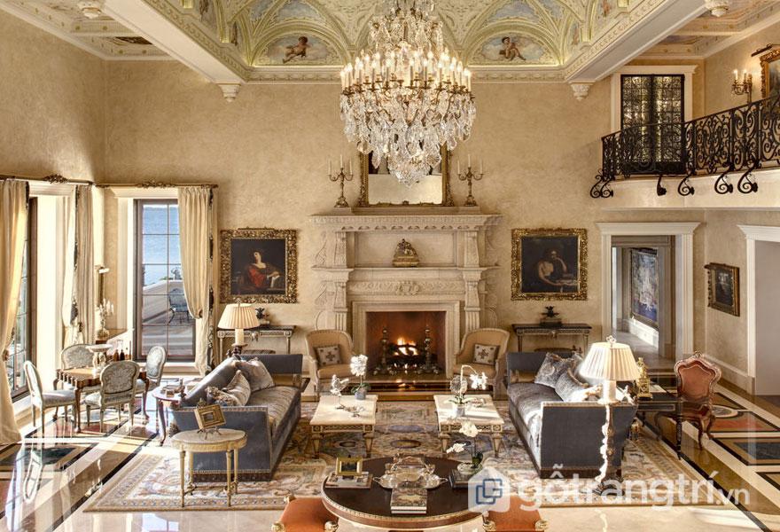 Thiết kế nội thất phong cách baroque phòng khách được bài trí khá sang trọng, đồ nội thất cầu kỳ bắt mắt (Ảnh: Internet)