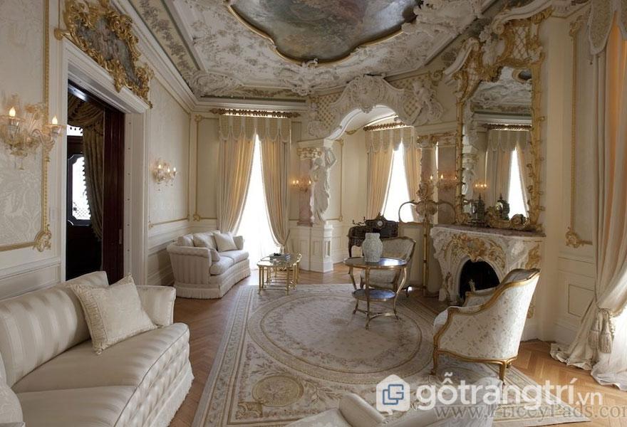 Phòng khách baroque luôn được sử dụng vải dệt cao cấp (Ảnh: Internet)