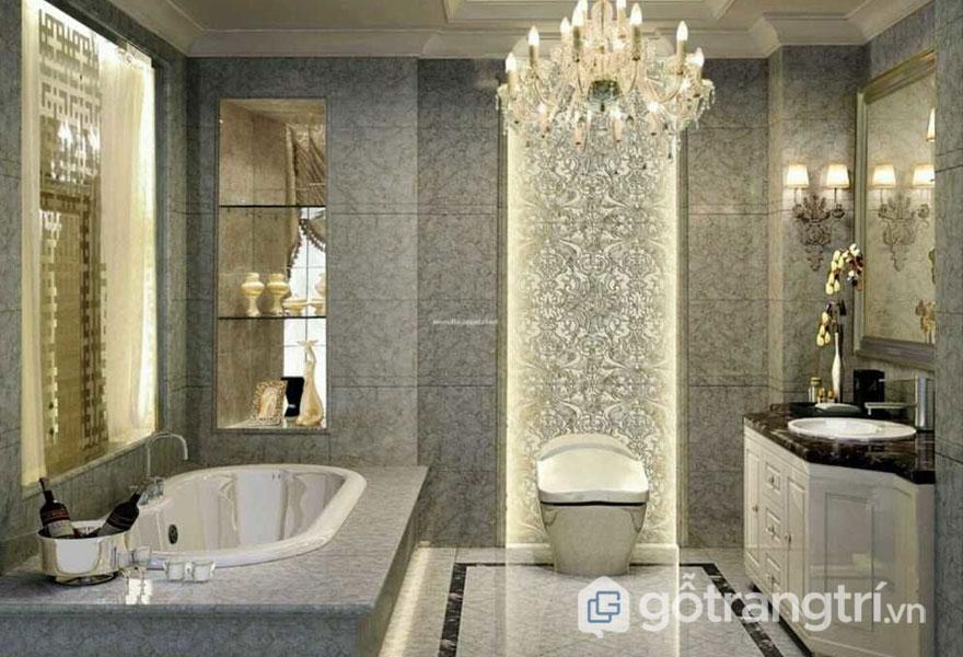 Phòng tắm sử dụng tông màu trầm trung tính (Ảnh: Internet)