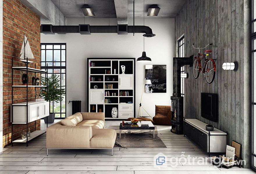 Vật liệu hay sử dụng trong phong cách loft là xi măng, sắt, thép (Ảnh: Internet)