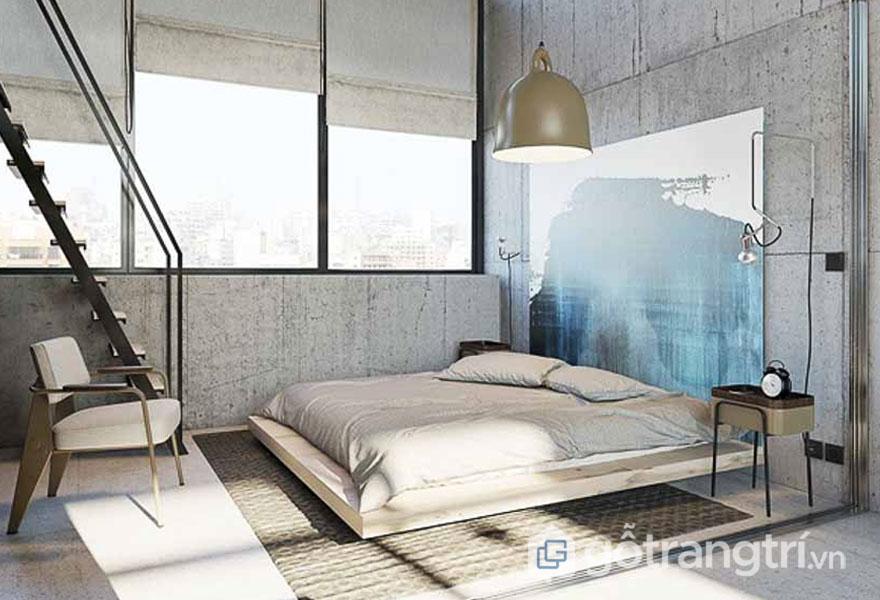 Phòng ngủ phô diễn bức tường bê tông (Ảnh: Internet)
