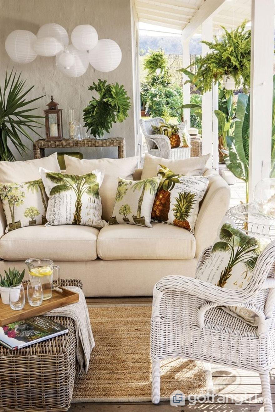 Chất liệu hay sử dụng trong thiết kế nội thất phong cách tropical đó là mây tre đan, gỗ tếch...(Ảnh: Internet)