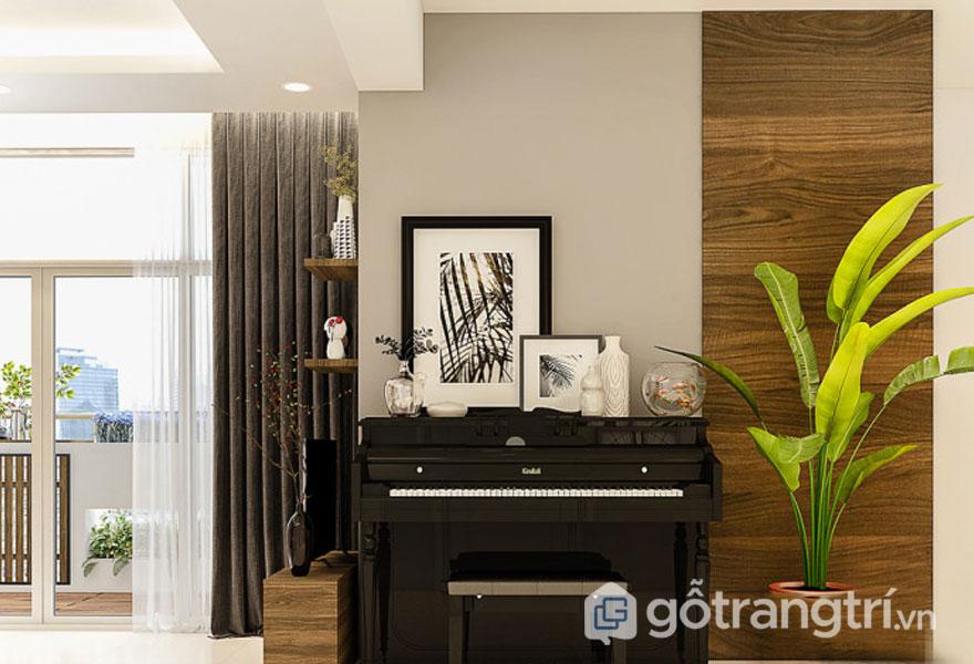 Căn phòng được bài trí thêm đàn piano tăng thêm sự lãng mạn (Ảnh: Internet)