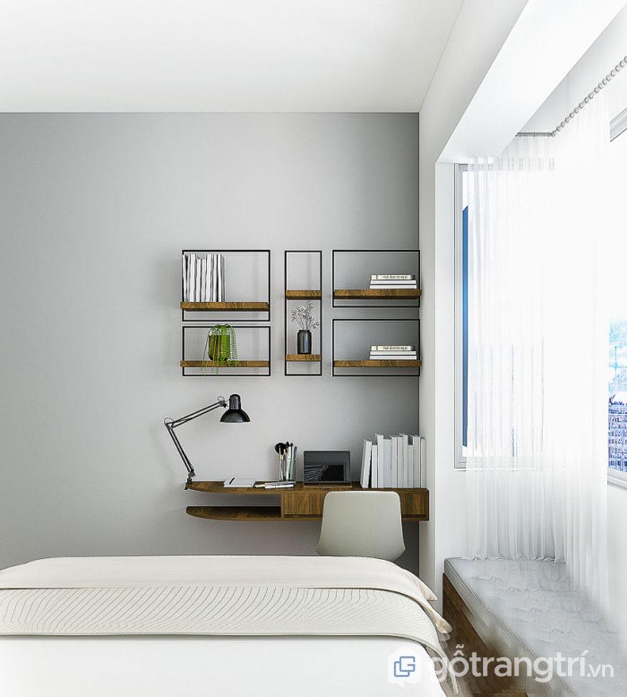 Góc làm việc được bài trí ngăn nắp, gọn gàng ngay tại phòng ngủ (Ảnh: Internet)