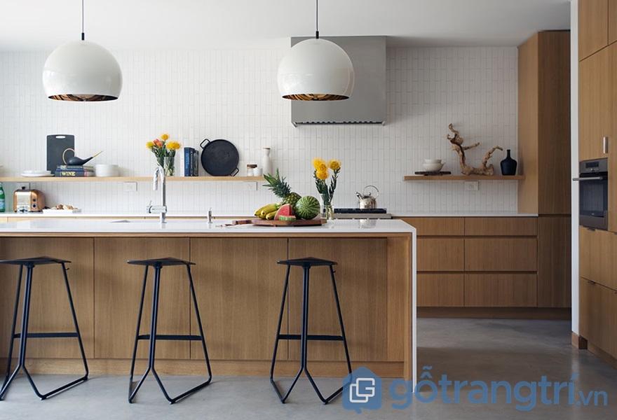 Ứng dụng ván ép công nghiệp trong thiết kế không gian bếp - ảnh internet