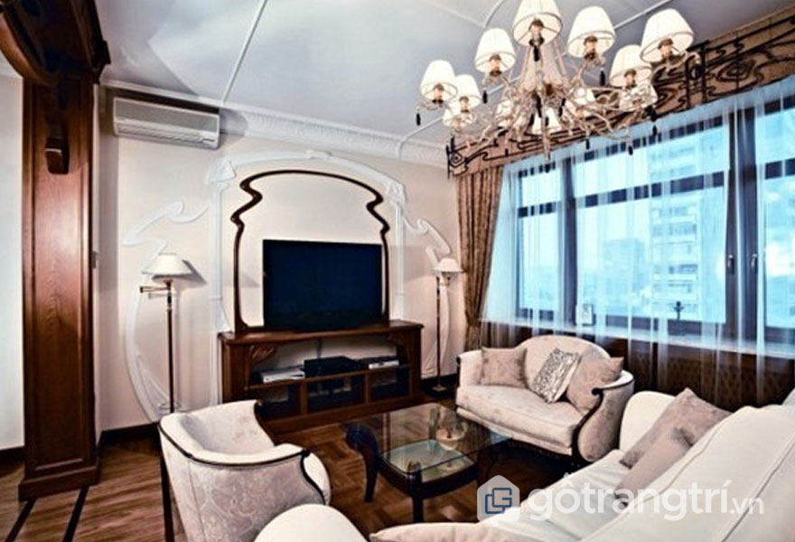 Một sự kết hợp của màu sắc trang nhã trong phòng khách Art Nouveau (Ảnh: Internet)