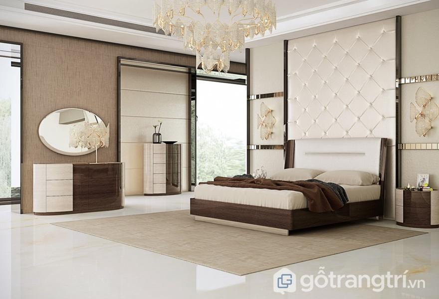 Mẫu giường ngủ gỗ veneer đẹp hiện đại - ảnh internet